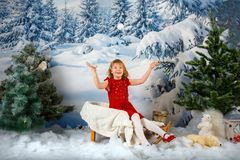 The girl on the background of the winter forest stock images