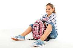 Girl with backpack Royalty Free Stock Image