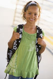 Girl with backpack stock image