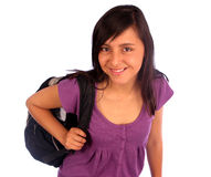 Girl With a Backpack Royalty Free Stock Photos