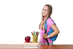 Girl with the backpack Stock Photography