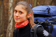 Girl with backpack. Beautiful brown-eyed girl with a backpack Royalty Free Stock Photo
