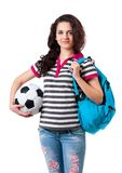 Girl with backpack Royalty Free Stock Images