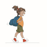 Girl With Backpack. Cartoon Young Girl Walking With Backpack Isolated On White Stock Photography