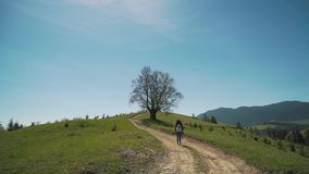 Girl with backpack climbs the hill stock footage