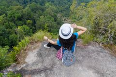 Girl With Backpack Enjoy Beautiful Landscape Back Rear View, Young Woman Tourist Stock Photo