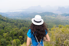 Girl With Backpack Enjoy Beautiful Landscape Back Rear View, Young Woman Tourist Royalty Free Stock Photo