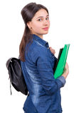 Girl with backpack and folder Stock Images