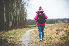 Girl with a backpack  Royalty Free Stock Image