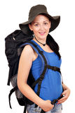 Girl with backpack and hat Stock Photography
