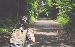 Girl with backpack hiking to the hill. Royalty Free Stock Image