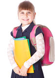A girl in a backpack is holding folders Stock Photo