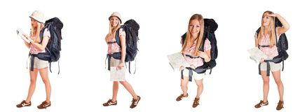 Girl with backpack isolated on white different pos Stock Photos