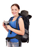 Girl with backpack and old camera Stock Photos
