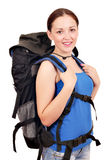 Girl with backpack Stock Images