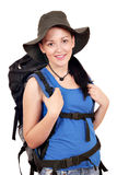 Girl with backpack ready for hiking Royalty Free Stock Photos