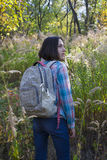 The girl with the backpack. Royalty Free Stock Photography