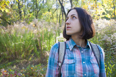 The girl with the backpack. Royalty Free Stock Photos