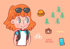 Girl backpacker traveling illustration Royalty Free Stock Photos