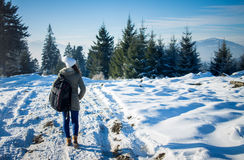 Girl backpacker walking in winter mountain forest Stock Image