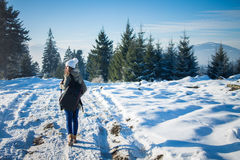 Girl backpacker walking in winter mountain forest Royalty Free Stock Photo