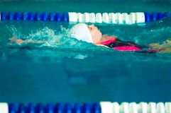 Girl backstroke Royalty Free Stock Image