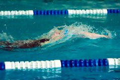 Girl backstroke Stock Photo