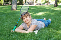 Girl with badminton Royalty Free Stock Photo