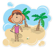 Girl and badminton game. Cheerful girl plays badminton on the beach For more childrens visit my portfolio Stock Images
