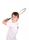 Girl with badminton racket Royalty Free Stock Images
