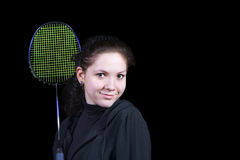 Girl with a badminton racket Stock Images
