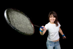 Girl with a badminton racket Royalty Free Stock Image