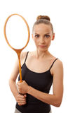 Girl with a badminton racket Stock Photography