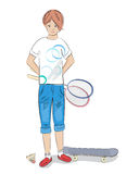 Girl with badminton racket and skateboard Stock Photos