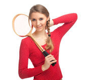 Girl with badminton rackets Royalty Free Stock Photos