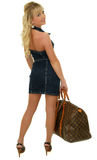 Girl with bag. Picture of beautiful girl with bag going on vacation Royalty Free Stock Photos