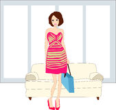 Girl with bag. Vector illustration of girl with shopping bag Royalty Free Stock Photos