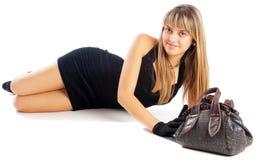 Girl and bag Stock Photo