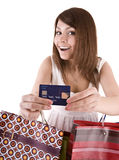 Girl with  bag and credit card. Royalty Free Stock Image