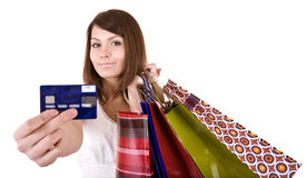 Girl with bag and credit card. Isolated Royalty Free Stock Photos