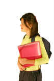 Girl with bag and folders Royalty Free Stock Photography