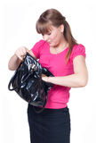 The girl with a bag in hands Stock Photo