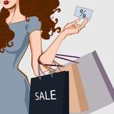 Girl with bag stock illustration