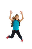 Girl with bag jumping high Royalty Free Stock Photos