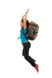 Girl with bag jumping high Royalty Free Stock Photo