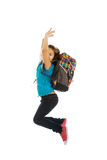 Girl with bag jumping high Stock Photography
