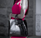 Girl with a bag in a pink fitting dress stock images