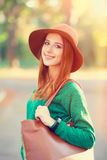 Girl with bag Stock Images