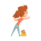 Girl with bag standing with a sign hitchhiking and raised her thumb up. Girl with bag standing with a sign hitchhiking and raised her thumb up, travelling by Stock Images