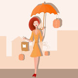 Girl with a bag under the umbrella Royalty Free Stock Photography